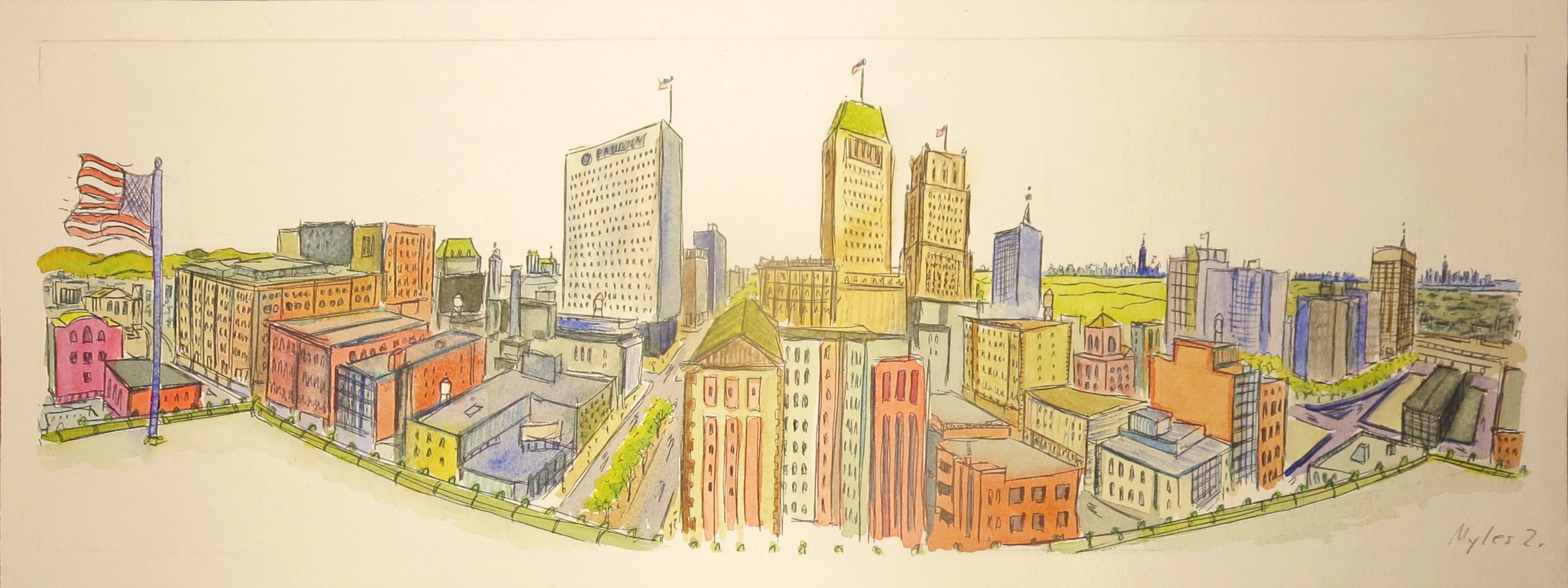 Newark Panoramic Watercolor